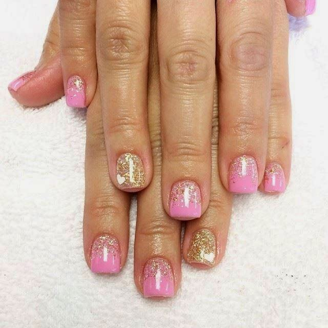 Acrylics LED polish Mylar foil glitter Golden glitz pink nail art and feats