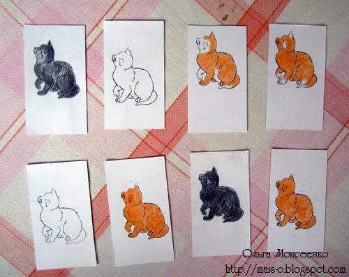 мемори котята, карточки для игры в мемори,