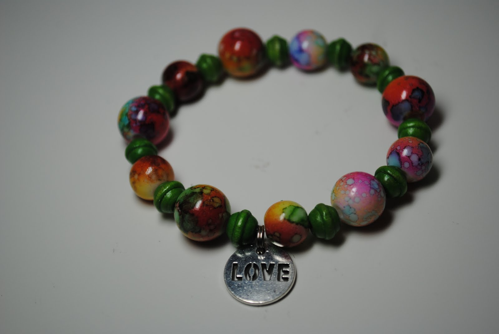 Around the World Bracelet with Love Charm - Multi/Green $12