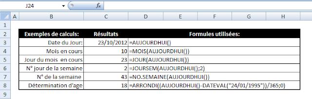 Excel - fonction AUJOURDHUI()