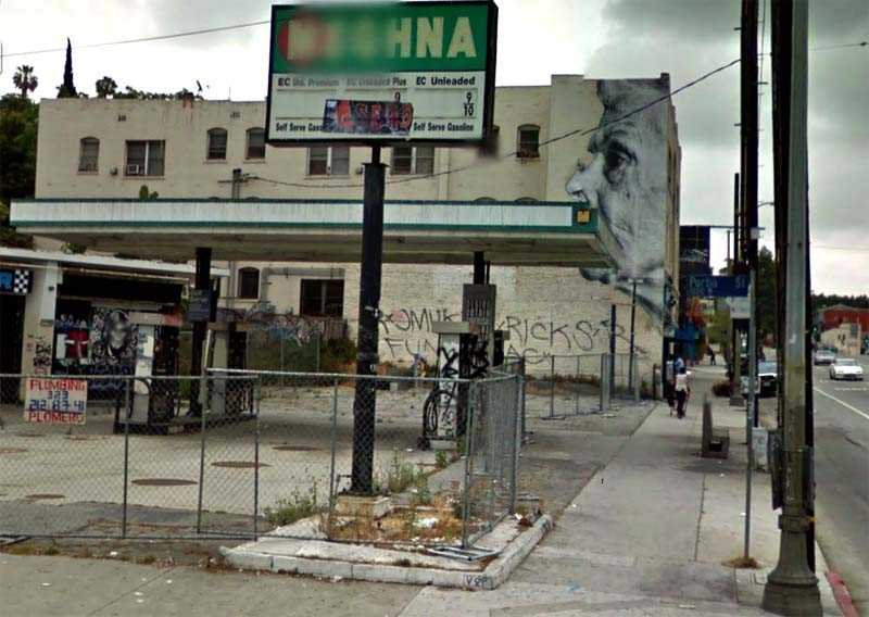 Google view of street art in Echo Park, Los Angeles (Sunset & Portia) - Old Lady on wall by artist JR