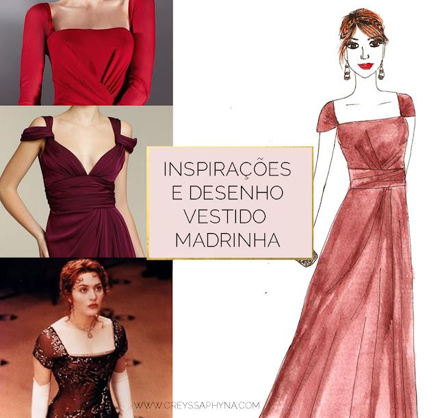 Desenho para Vestido de Madrinha | Anna Kuhl | www.creyssaphyna.com