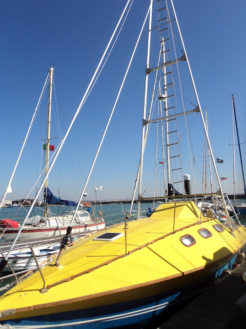 Amazing yellow sailboat