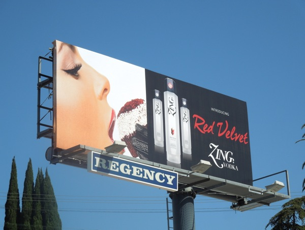 Red Velvet Zing Vodka billboard