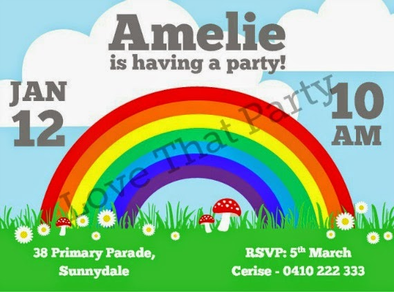 """""""Coming Up Rainbows"""" Personalised Printable Rainbow Birthday Invitation by Love That Party."""