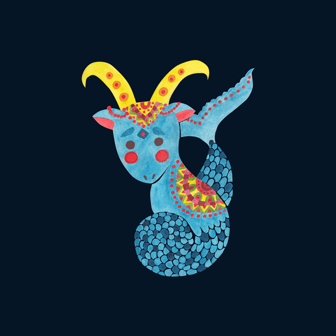 Blue Capricorn Illustration Printed on Merchandise Illustration by Haidi Shabrina