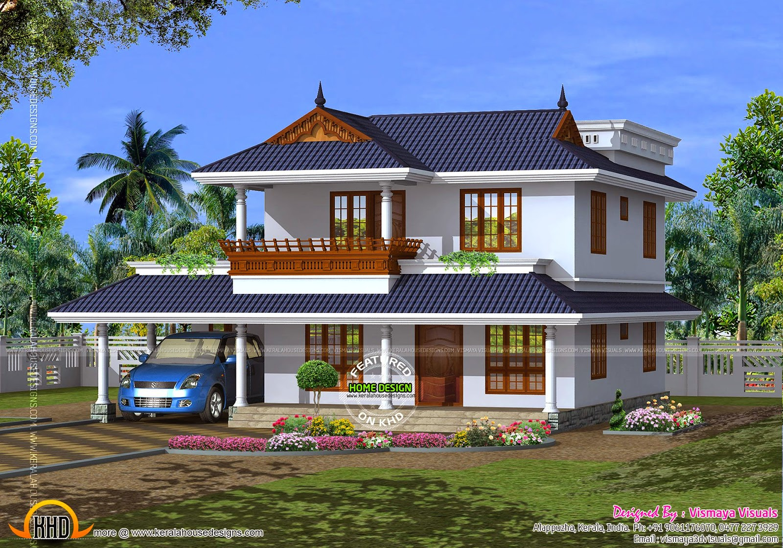 House plan of beautiful contemporary home kerala home for Home plan in kerala