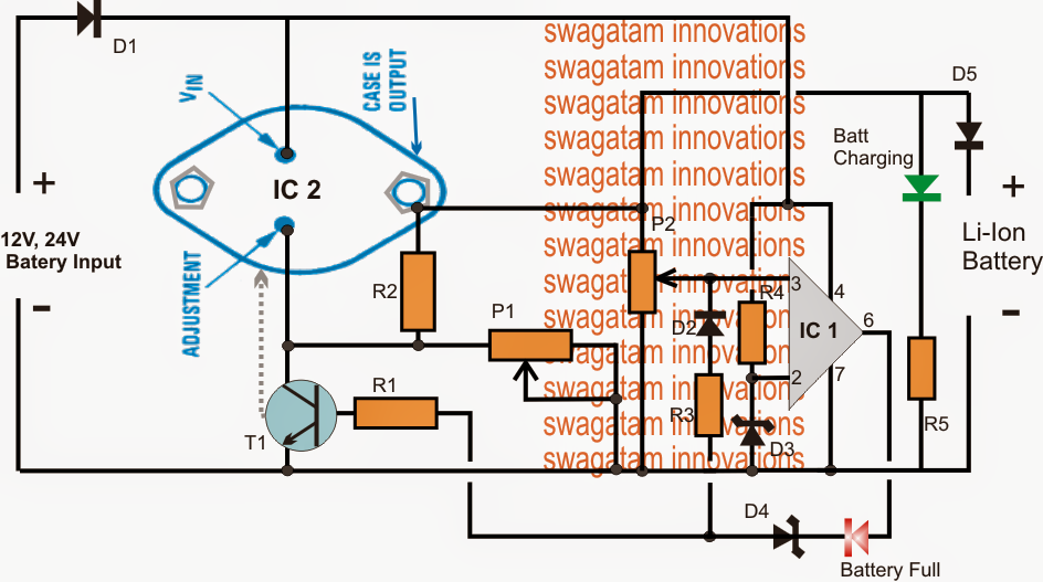 Li-Ion Charger Circuit High current 12V, 24V input