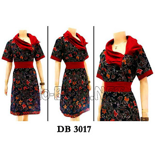 DB3017 - Model Baju Dress Batik Modern Terbaru 2013