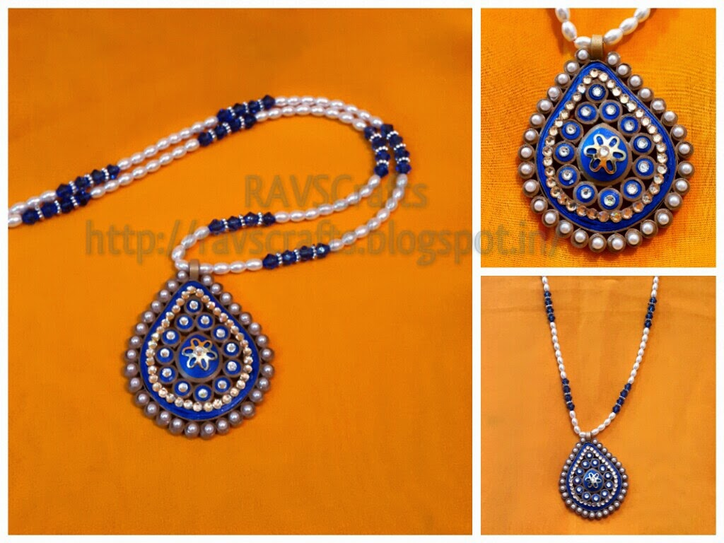 Quilling Jewellery Necklace Long Pearl Quilled Necklace