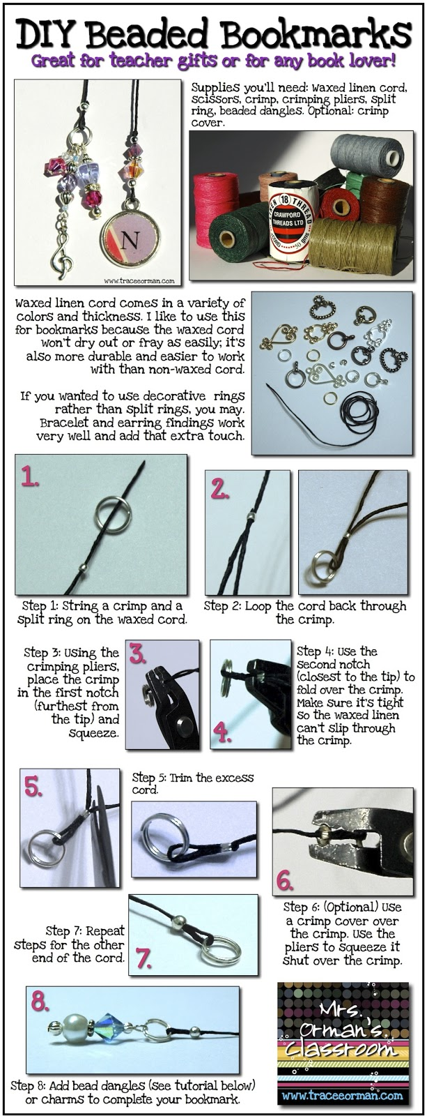 How to make a homemade beaded bookmark DIY www.traceeorman.com