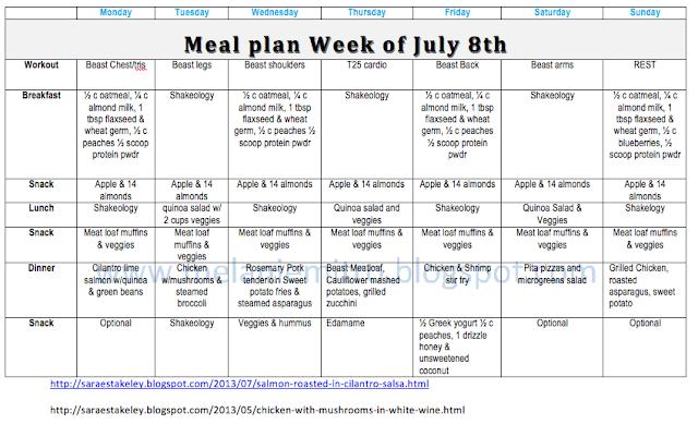 T25 Meal Plan