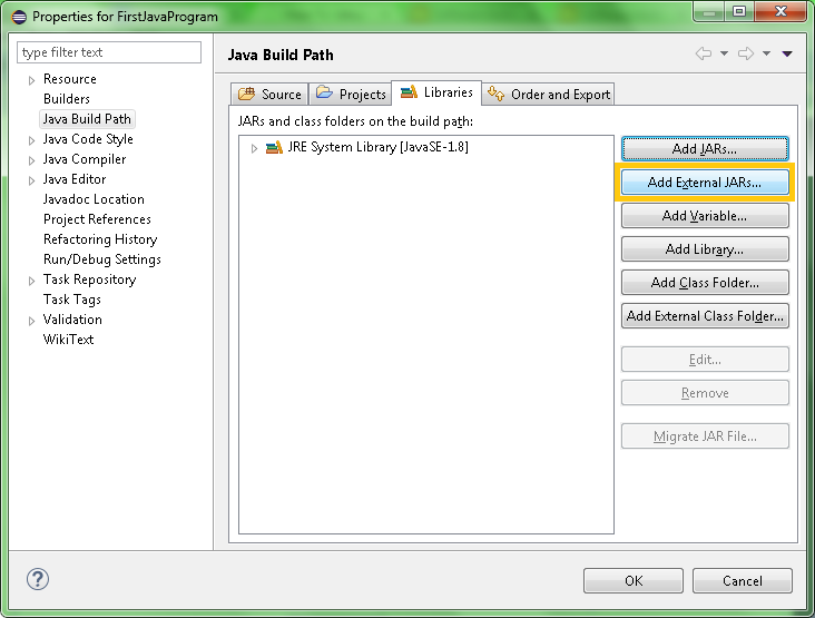 Window to Add JAR files