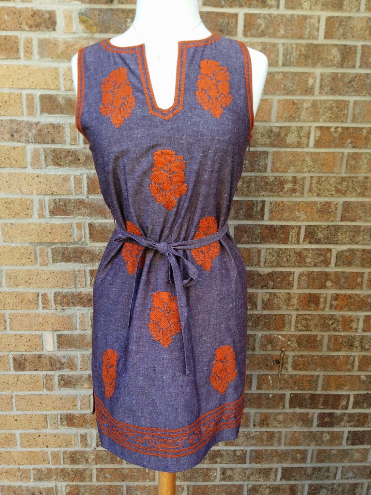 Denim Dress with Burnt Orange Embroidery