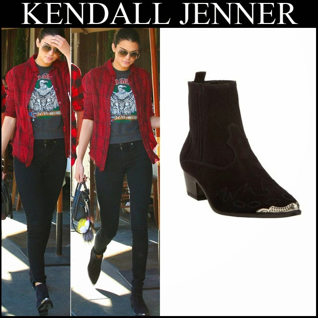 Kendall Jenner in red flannel plaid shirt, black skinny jeans and black Saint Laurent western ankle boots streetstyle want her style