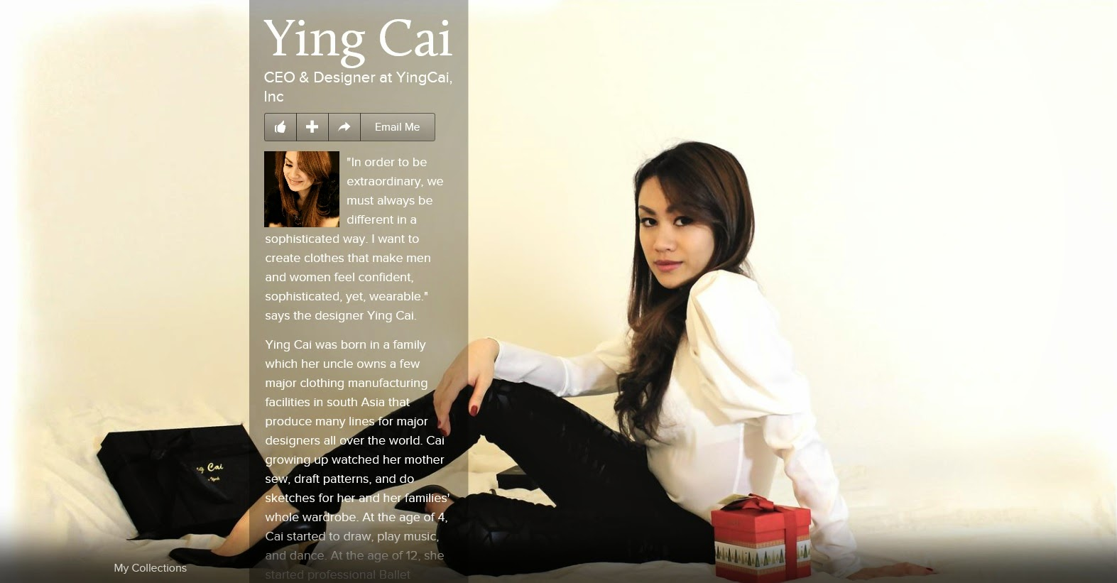 Ying Cai, CEO & Fashion Designer at YingCai, Inc.