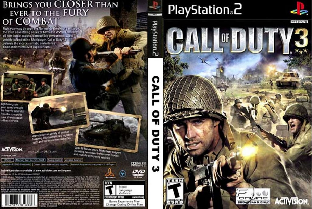 hit games call of duty 3 ps2 game