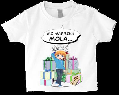 "Camiseta manga corta para bebé ""Mi madrina mola (niño)"" color blanco"