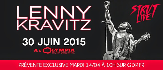 Lenny Kravitz en concert mardi 30 juin 2015 à l'Olympia