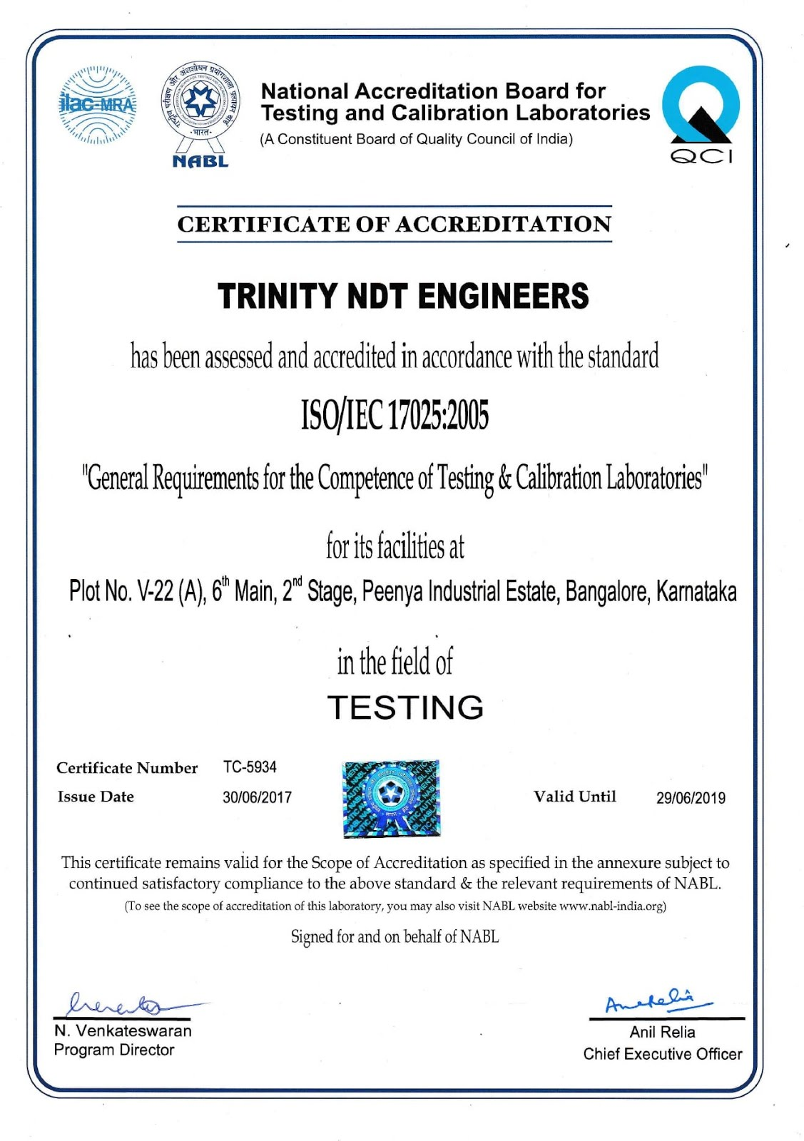 NABL ISO/IEC 17025Accreditation to Trinity NDT labs