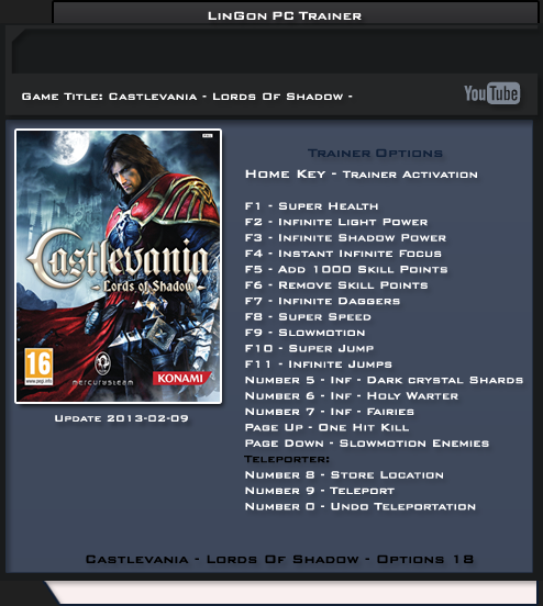 Castlevania Lords of Shadow – Ultimate Edition v1.2 +17 Trainer [LinGon]