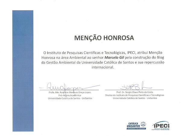 MENÇÃO HONROSA CONCEDIDA PELA REITORIA DA UNIVERSIDADE CATÓLICA DE SANTOS À MARCELO GIL / 2013