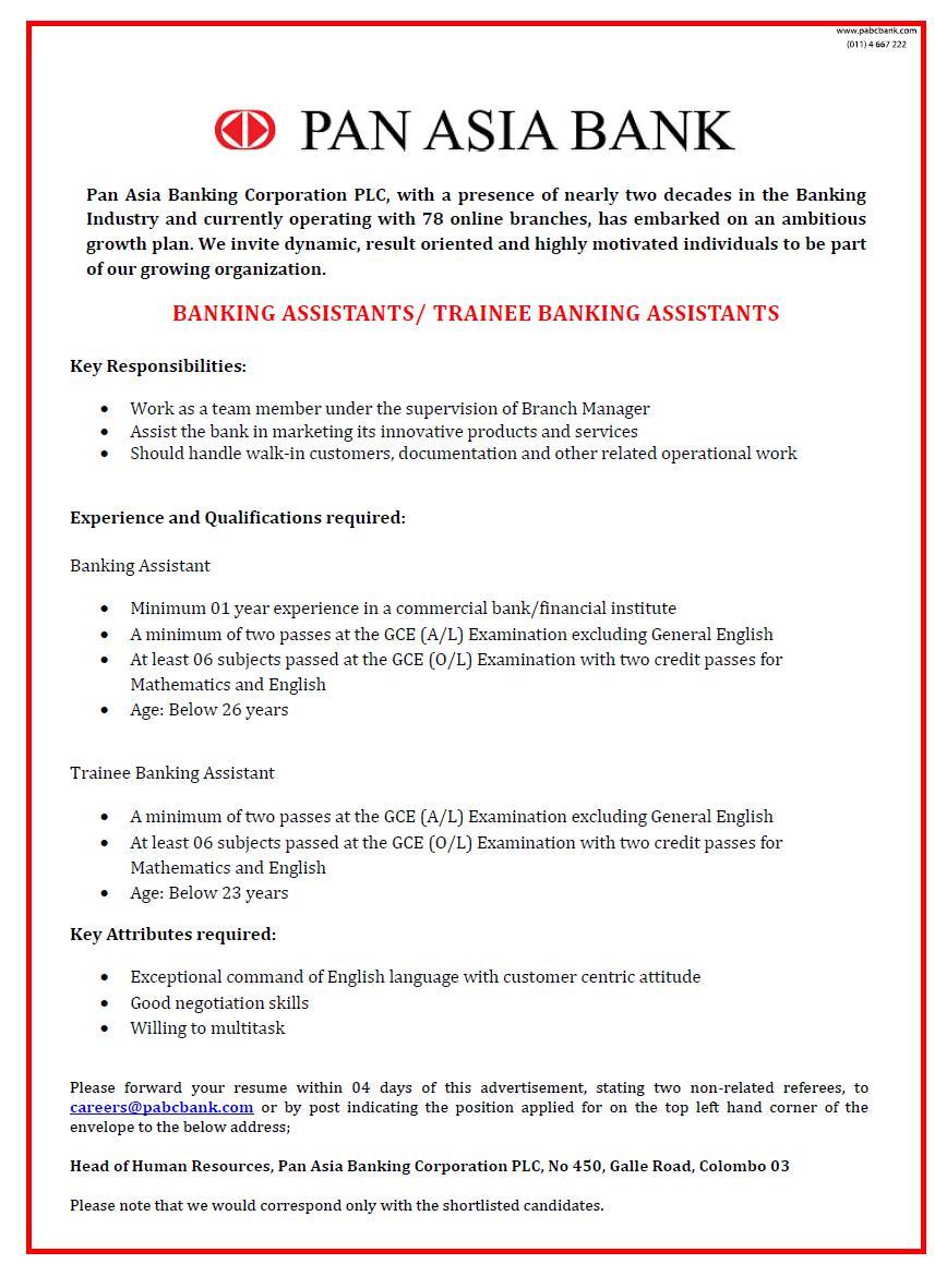 bank vacancies in sri lanka 2015