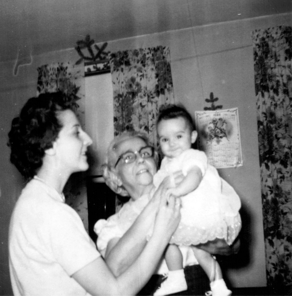 Yvonne with grandmother Julie and aunt Darlene at Christmas 1958