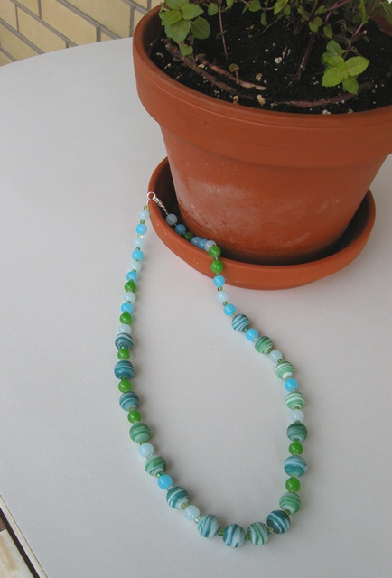 Janet makes things sea glass inspired necklace the necklace is made with beads from the michaels store we visited a few weeks back i love the green and turquoise colours and the shiny small and medium solutioingenieria Images