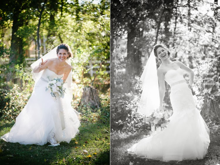 bride being silly in her Monique Lhuillier wedding dress with her bouquet of flowers and sunshine back lighting her