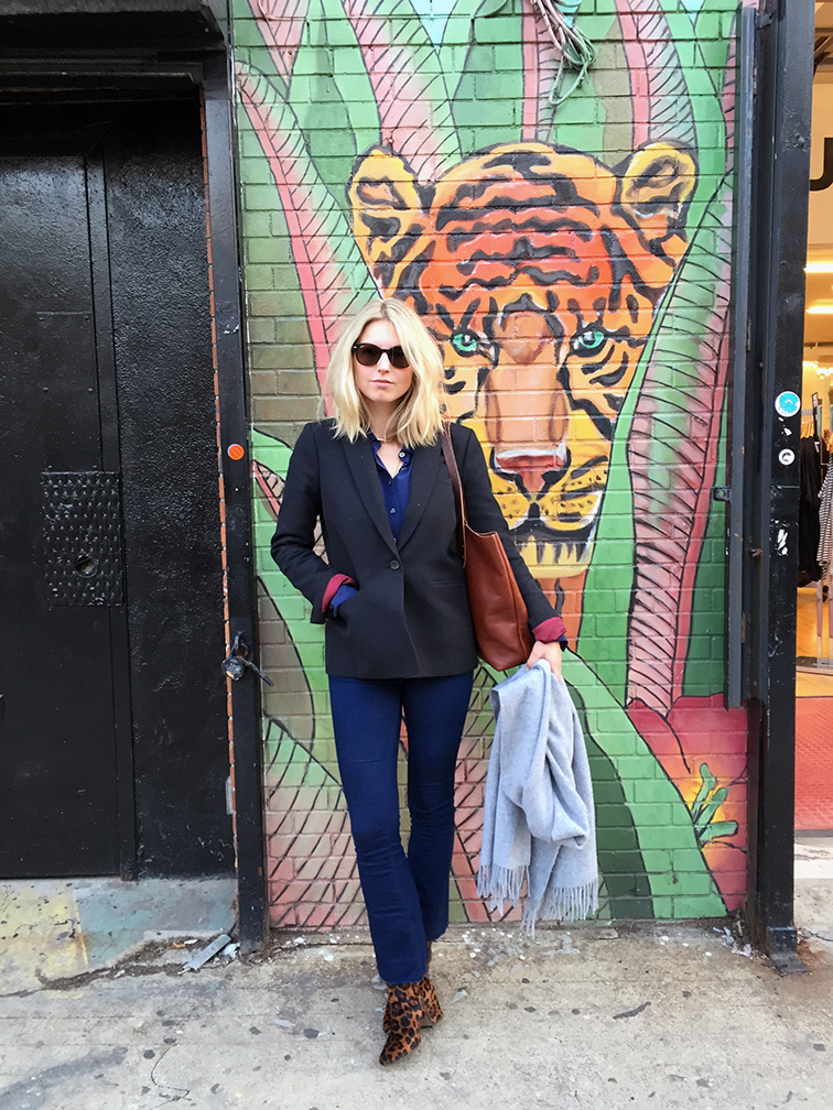 Fashion Over Reason, Williamsburg Brooklyn, cropped flare, JCrew blazer, Zara leopard print boots