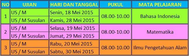 Jadwal Ujian Sekolah SD dan MI 2015