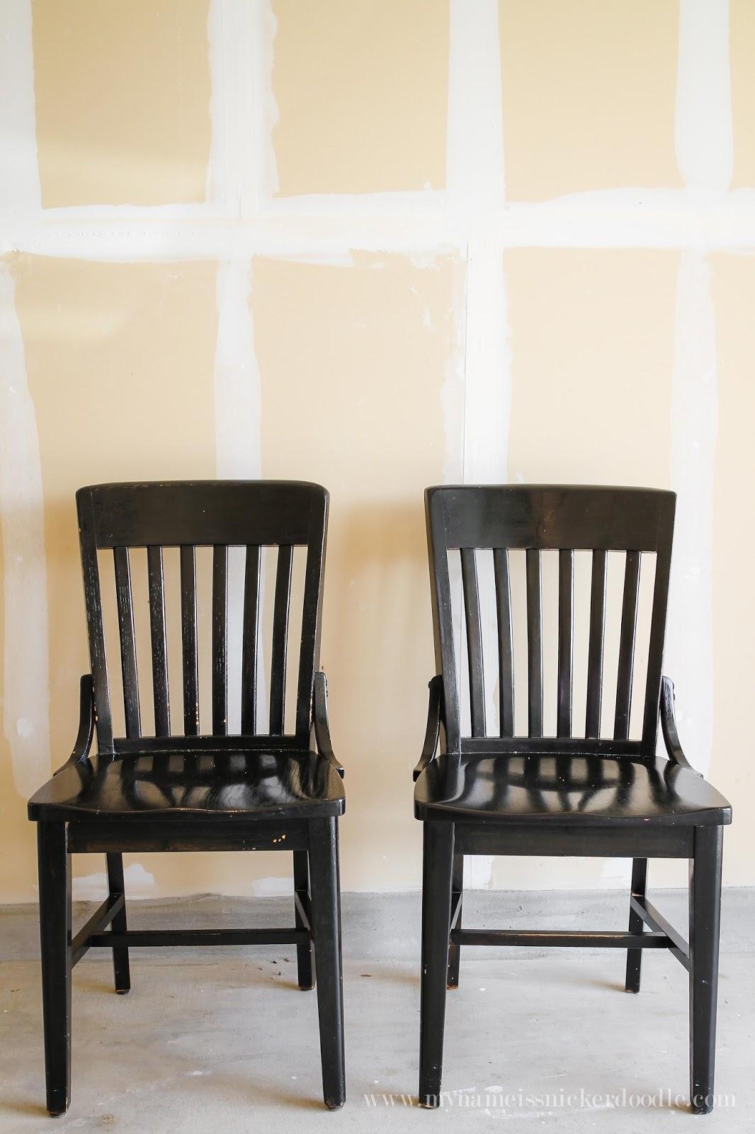 Chalk paint kitchen chairs - Brighten And Lighten Up Dark Kitchen Chairs With Chalk Paint Mynameissnickerdoodle Com