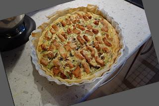 Тарт с куриным филе и шампиньонами