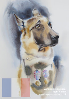 watercolour painting diesel German shepherd France