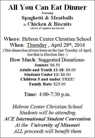 4-28 All You Can Eat Dinner Hebron School