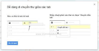 kéo thả thư giữa các tab để thiết lập quy tắc gmail inbox