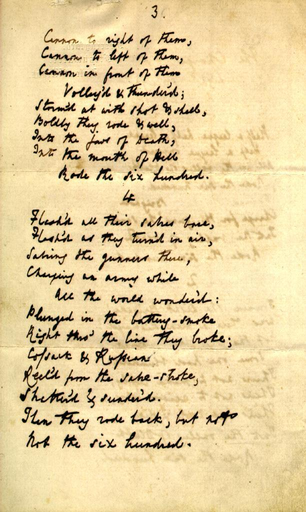women in tennysons poems essay Essay example made by a student alfred tennyson's 'charge of the light brigade compare the representation of war in owen's exposure and tennyson's charge.