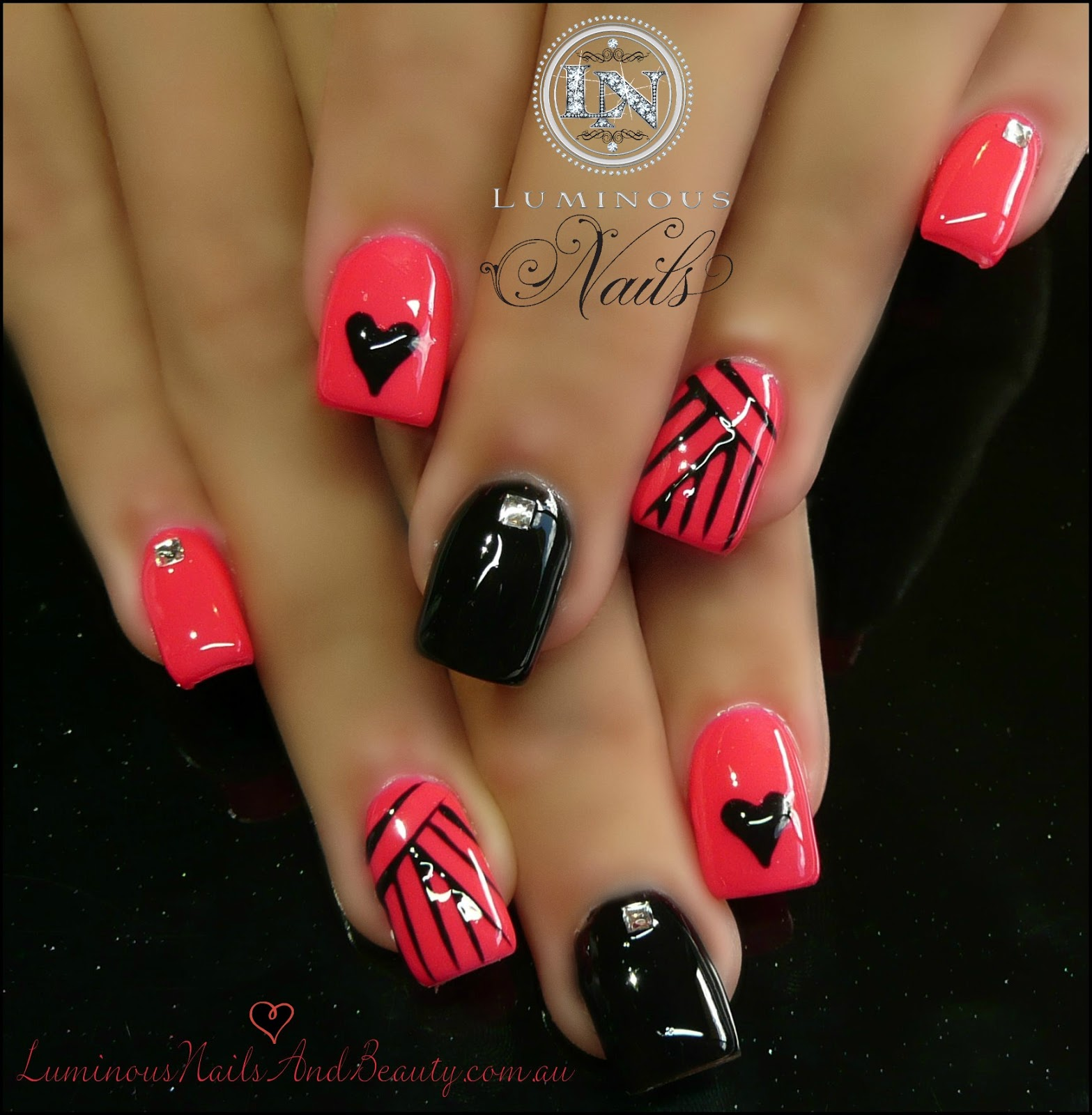 View Images Nails gel sculptured acrylic with mani q black coral pink