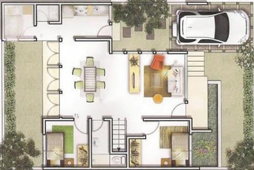 Uuntuk memberikan kesan yang lebih luas dalam rumah anda bisa menggabungkan antara ruang tamu ruang keluarga dan ruang makan menjadi satu ruangan ... & Macam-macam Denah Rumah Minimalis Impian type 45 Terbaru