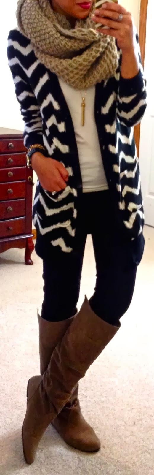 chevron cardi, chunky scarf, & boots.