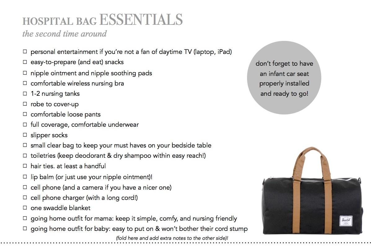 a little bit of lacquer hospital bag checklist the second time around
