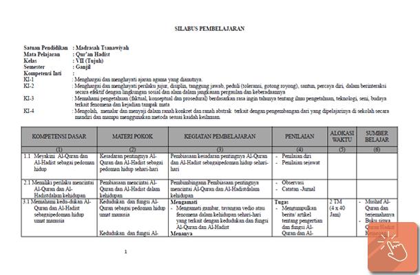 Silabus MTs Kurikulum 2013 Kelas 7 Mata Pelajaran PAI dan Bahasa Arab