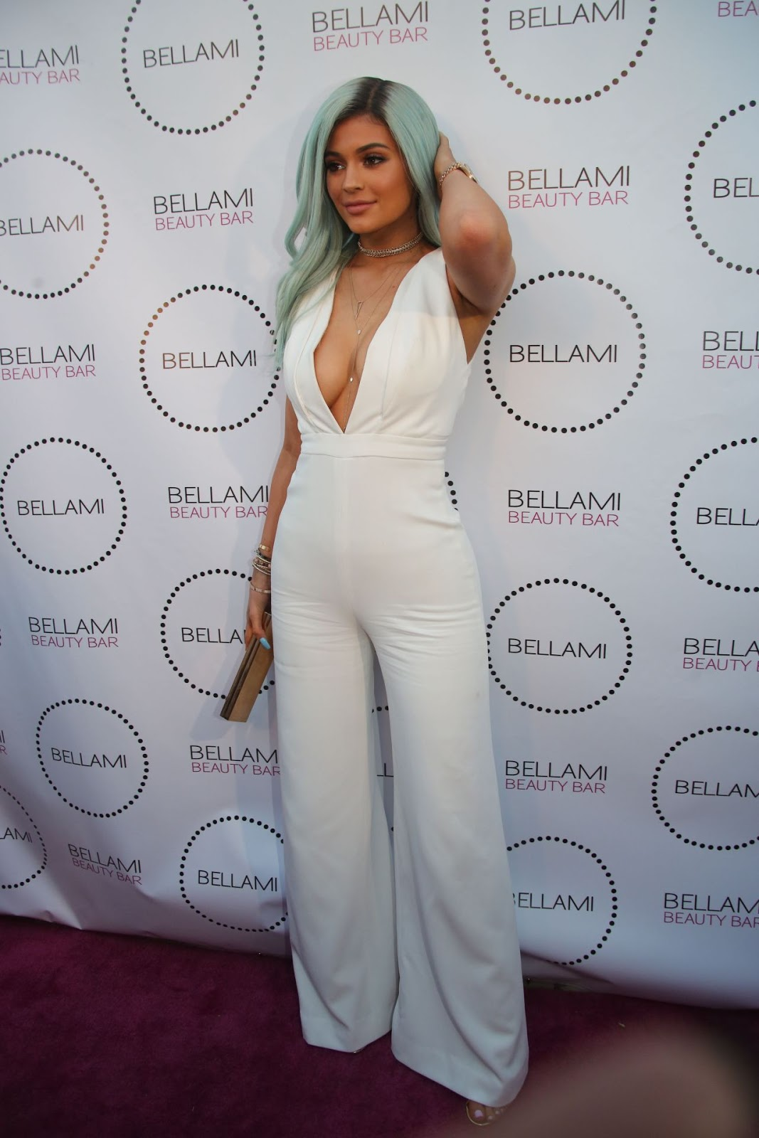 Kylie Jenner flaunts cleavage and icy blue hair at Bellami Beauty Bar