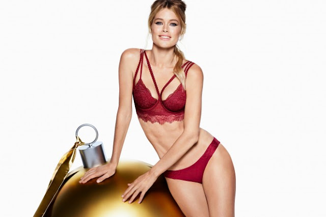 Doutzen Kroes strips to red lingerie for the H&M Holiday 2015 Campaign