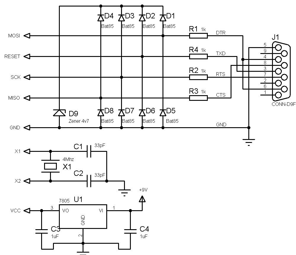 Make Your Own Universal Avr Programmer Serial Port Ferhats Notebook Circuit Diagram Of Zener Diode List Components