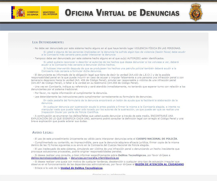 Gu a de la eliminaci n de oficina virtual de denuncias for Registro oficina virtual