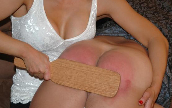 Naughty husband spanked butt raw