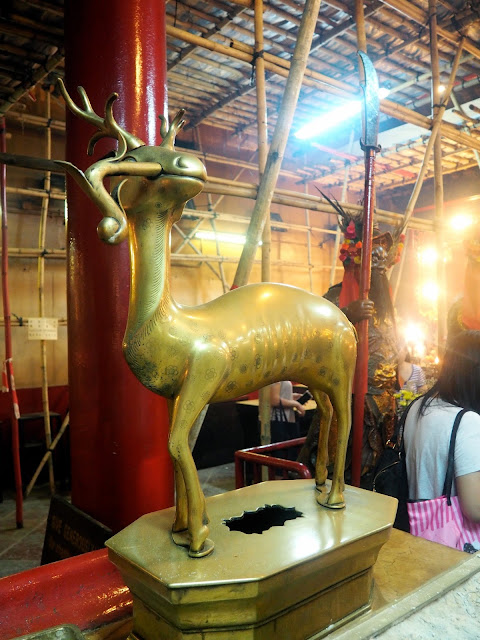 Deer statue inside Man Mo Temple, Sheung Wan, Hong Kong