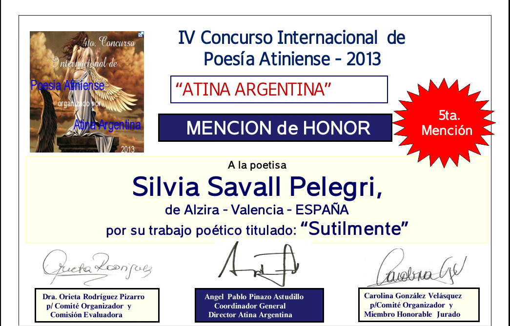 """Mención de honor  """"Atina Argentina 2013"""""""